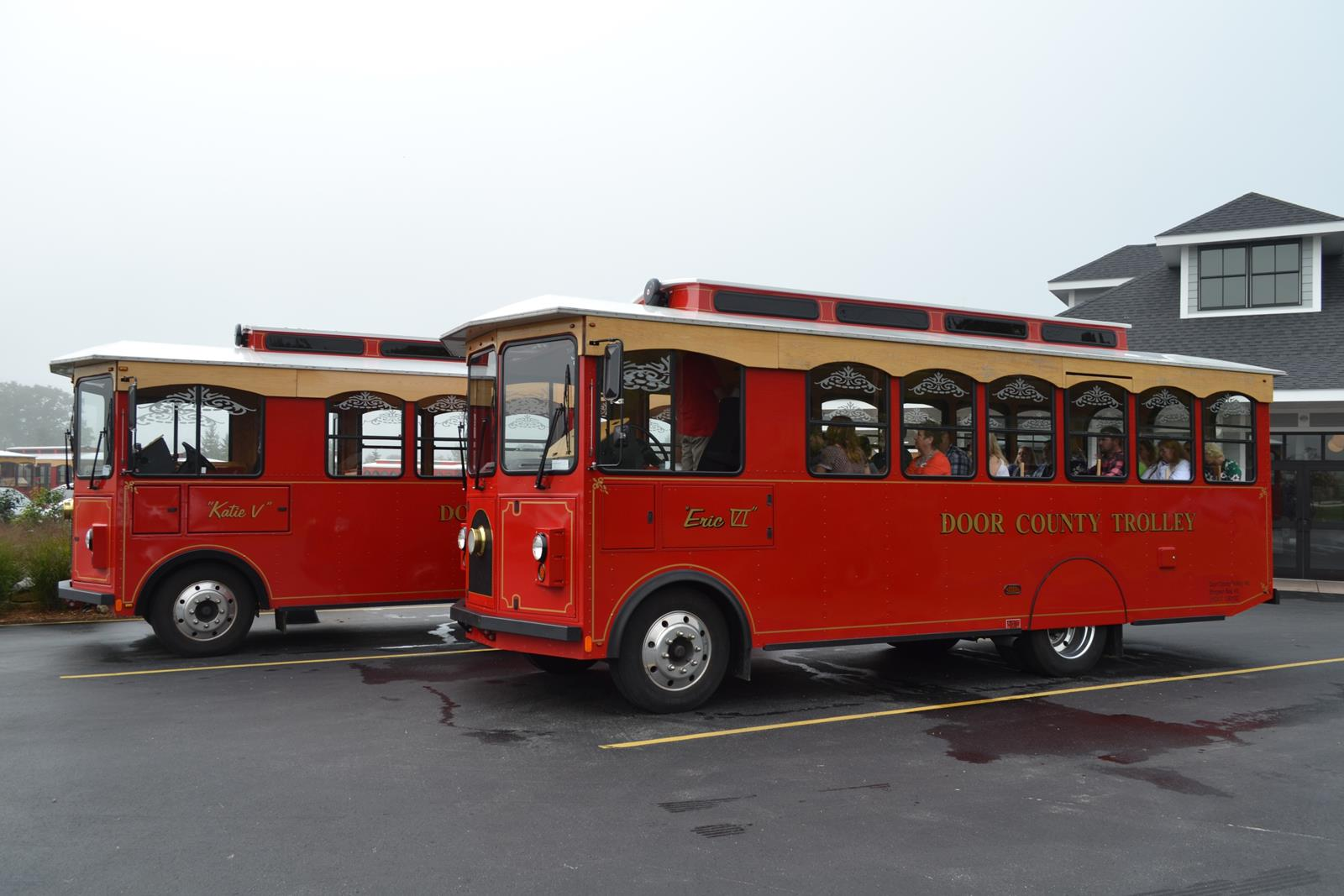 Door County Trolley Company's red trolleys offer groups a number of tour choices