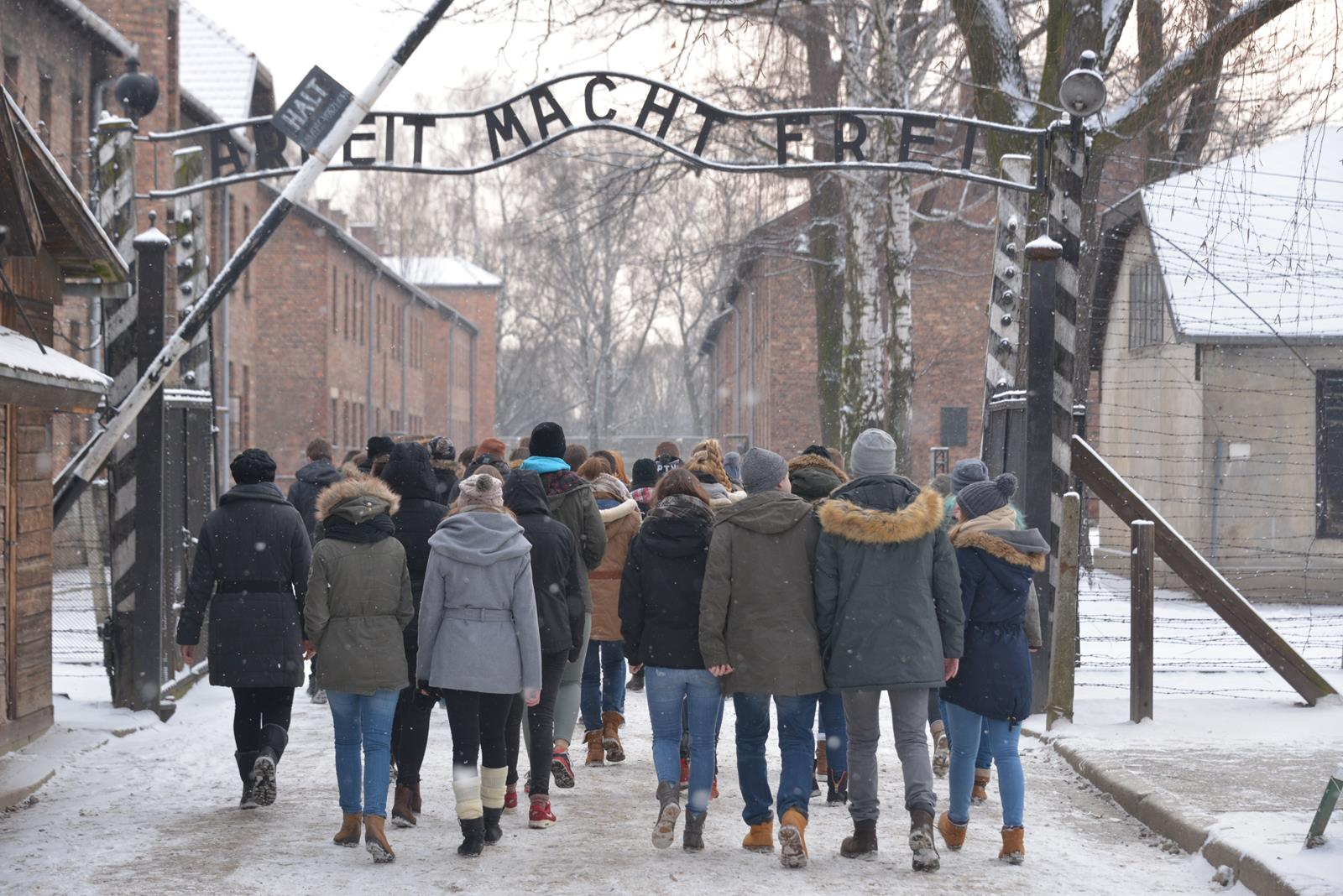 Group of visitors at Auschwitz I - Photo by Pawel Sawicki © Auschwitz-Birkenau State Museum - Musealia.JPG