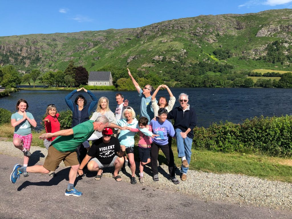 Family yoga session at Gougane Barra Credit Vagabond Small-Group Tours of Ireland