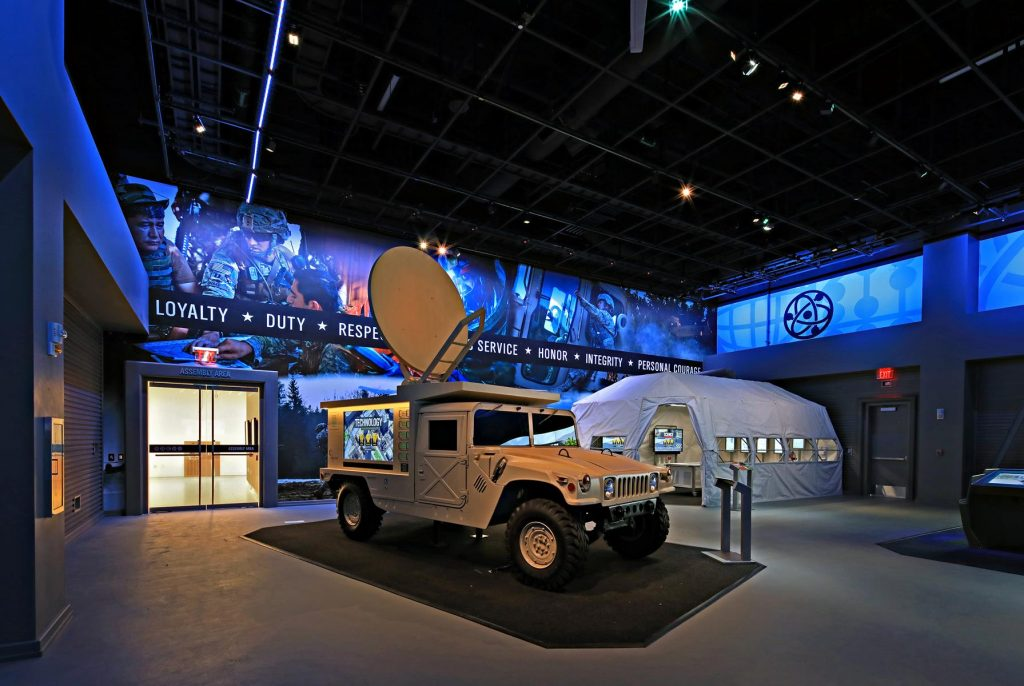 Museum features like the Experiential Learning Center provide an immersive learning space for visitors and groups to participate in hands-on G-STEM learning activities and working in small teams to solve an Army humanitarian mission.