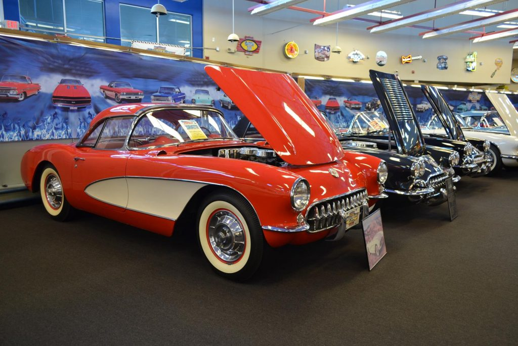 As many as 200 shiny classic muscle cars are featured at the Muscle Car Museum.