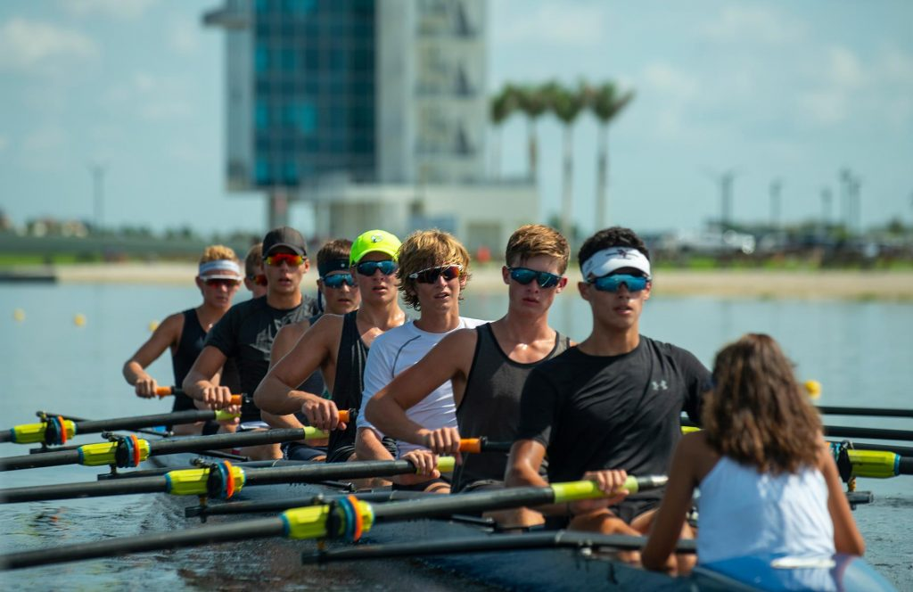 A favorite group water-related sport in Sarasota is rowing Photo by Larry Lynn (Miles)