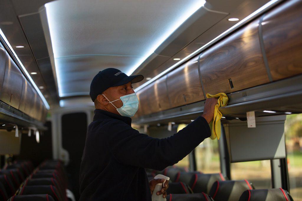 sanitizing the tour bus