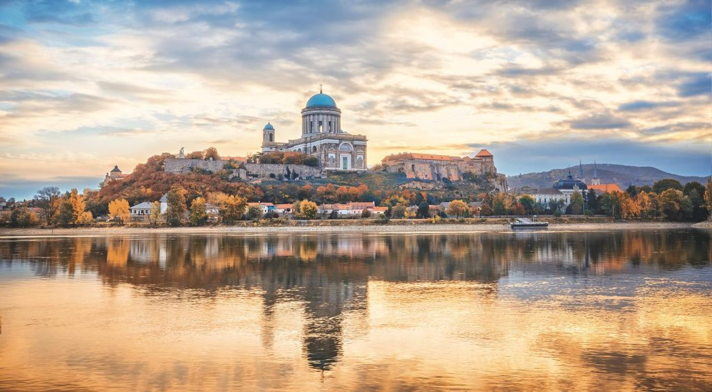 Esztergom, Hungary, Basilica of the Blessed Virgin Mary. Amazing morning view over Danuber river, beautful reflections mirrored in water.