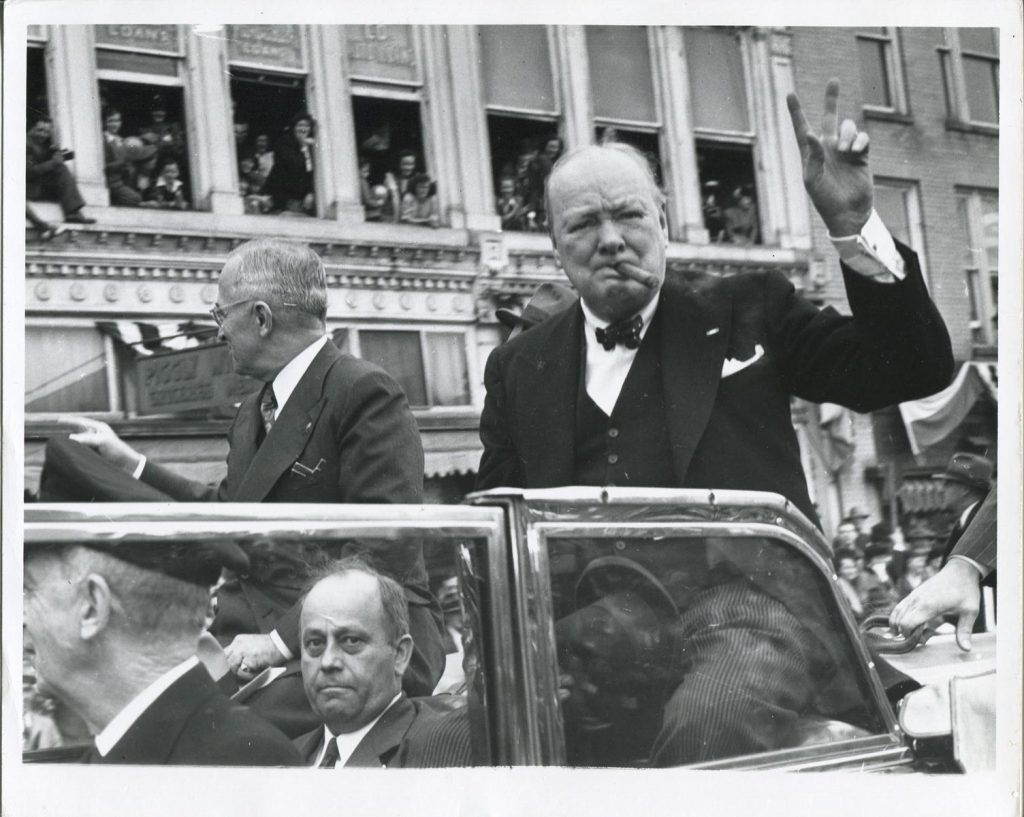 CH.07.041a Churchill, Truman, Westminster Pres McCluer (below) greet crowds during parade