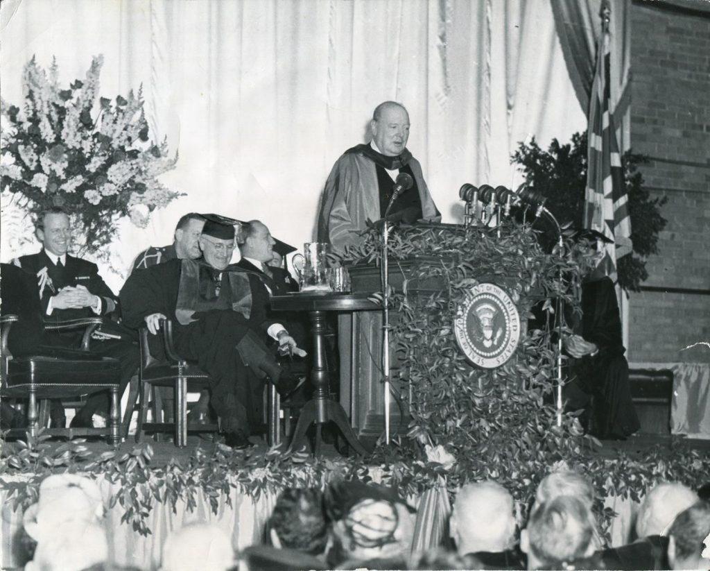 Churchill speaking at podium
