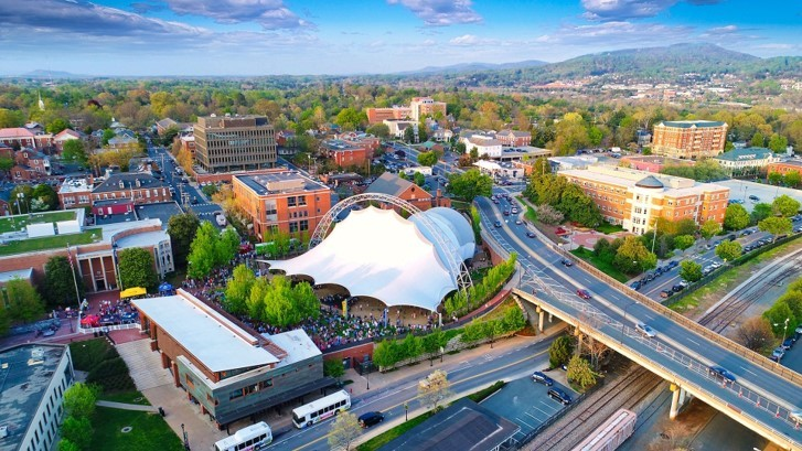 Aerial of downtown Charlottesville