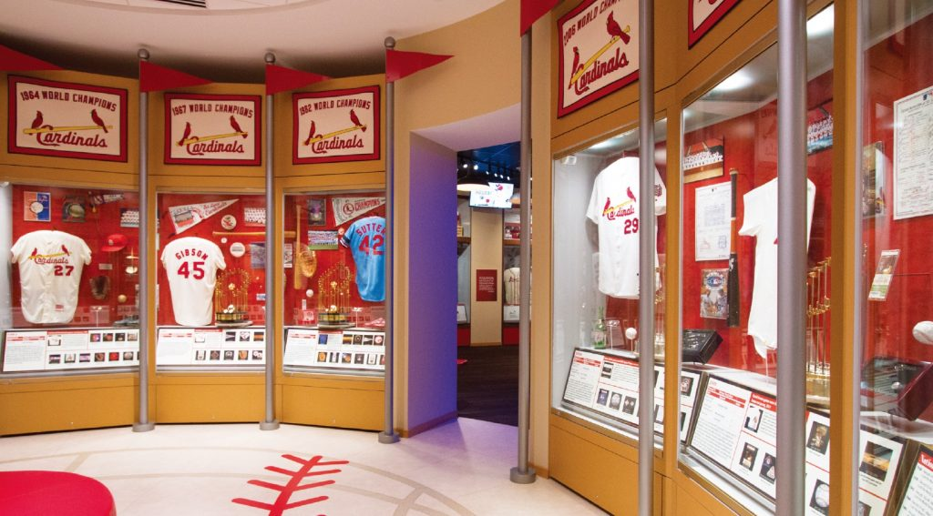 The Cardinals Hall of Fame and Museum is housed in Cardinals Nation, a restaurant:bar in St. Louis' Ballpark Village.