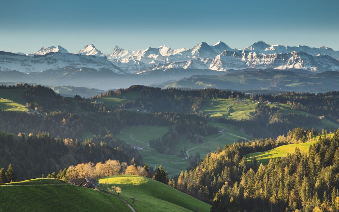 Forests, lush meadows and breathtaking views of the Bernese Alps and Jura mountains captivate travelers exploring the hilly Emmental Region. Switzerland Tourism/Jan Geerk